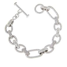 Bellezza Sterling Silver Textured Oval Pavé Bracelet