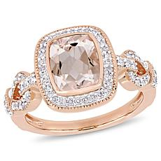 Bellini 10K Rose Gold Diamond and Morganite Infinity Halo Loop Ring