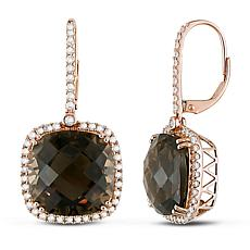 Bellini  14K Gold Smoky Quartz and Diamond Halo Leverback  Earrings