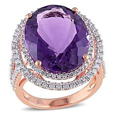 Bellini 14K Rose Gold Amethyst and Diamond Double Halo Cocktail ring