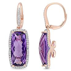 Bellini 14K Rose Gold Amethyst Diamond-Accented Drop Earrings
