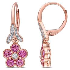 Bellini 14K Rose Gold Diamond & Sapphire Flower Leverback Earrings