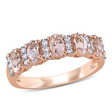Bellini 14K Rose Gold Oval Morganite and Diamond Semi-Eternity Ring