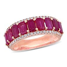 Bellini 14K Rose Gold Oval Ruby with Diamond Border Semi-Eternity Ring