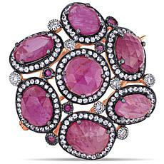 Bellini  14K Rose Gold  Pink Sapphire and Multi-Gemstone Brooch Pin
