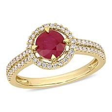 Bellini 14K Round Ruby and Diamond Halo Double Row Engagement Ring