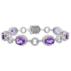 Bellini 14K White Gold Amethyst and Diamond Geometric Linked Bracelet