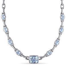 Bellini  14K White Gold Aquamarine and Diamond Necklace