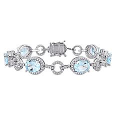 Bellini 14K White Gold Diamond and Blue Topaz Link Bracelet