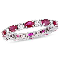 Bellini 14K White Gold Diamond and Ruby Eternity Band Ring