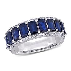Bellini 14K White Gold Octagonal Sapphire & Diamond Semi-Eternity Ring