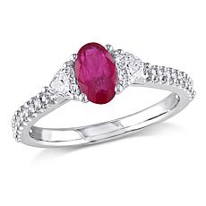 Bellini 14K White Gold Oval Ruby and Diamond Ring
