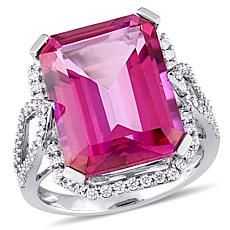 Bellini 14K White Gold Pink Topaz and Diamond Cocktail Ring