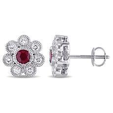 Bellini 14K White Gold Ruby and Diamond Flower Design Stud Earrings