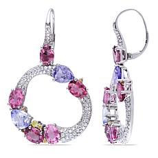 Bellini 14K White Gold Sapphire, Tourmaline and Diamond Hoop Earrings