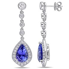 Bellini  14K White Gold Tanzanite and Diamond Dangle Earrings