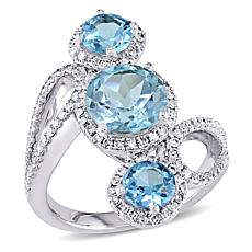 Bellini 18K White Gold Blue Topaz and Diamond Vertical 3-Stone Ring