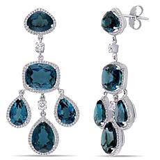 Bellini  18K White Gold London Blue Topaz and Diamond Dangle Earrings