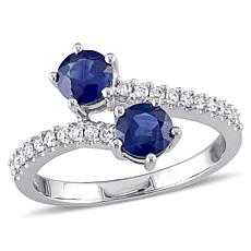Bellini Blue Sapphire and Diamond 10K White Gold Pavé Bypass Ring