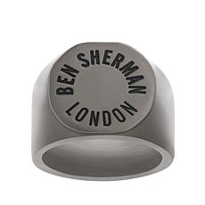 Ben Sherman Men's Engraved Stainless Steel Logo Ring