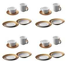 BergHOFF Gem Dinnerware 24-piece Place Setting - White and Gold