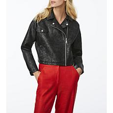 Bernardo Crinkled Faux Leather Moto Jacket