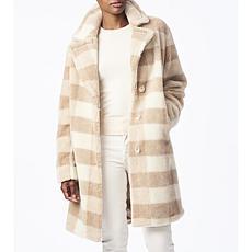 Bernardo Plaid Sherpa Coat