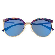 Bertha Hazel Polarized Sunglasses with Rose Gold Frame and Blue Lenses