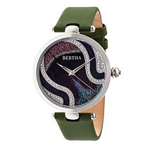 "Bertha ""Trisha"" Multicolor Dial Leather Strap Watch with Silk Overlay"