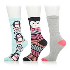 0d67873482c2d Betsey Johnson 3-pack Holiday Crew Socks