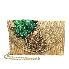Betsey Johnson Straw Pineapple Clutch