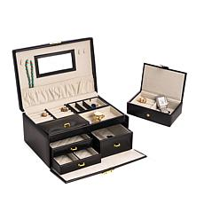 Bey-Berk Black Leather 2-Level Jewelry Box