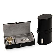 Bey-Berk Black Leather Watch and Cufflink Travel Case