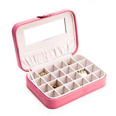 Bey-Berk Pink Faux Leather 24-Section Jewelry Case