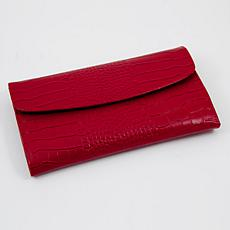"Bey-Berk Red ""Croco"" Leather Multi Compartment Jewelry Clutch"