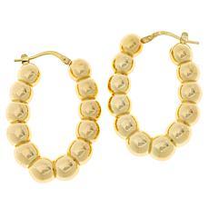 Bianca Milano Sterling Silver Beaded Oval Hoop Earrings