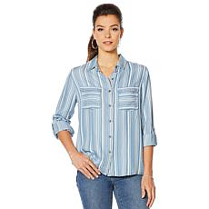 Billy T Button Down Denim Stripe Shirt