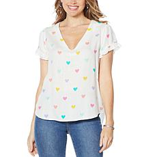 Billy T Happy Summer Ruffle Sleeve Print Popover