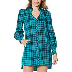 Billy T Ruffled Neck Plaid Middy Dress