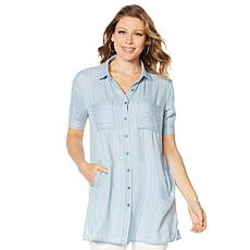 Billy T Short-Sleeve Linen Shirt Dress