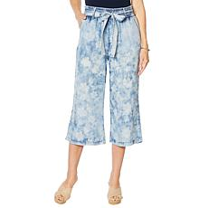 Billy T Summer Blues Tie Waist Printed Crop Wide-Leg Pant