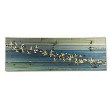 Birds in Flight 12x36 Print on Wood