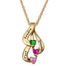 Birthstone Crystal Goldtone Sterling Silver Family Name Pendant