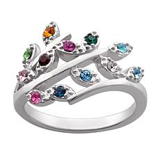 Birthstone Crystal Leaf Bypass Ring