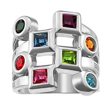 Birthstone Crystal Sterling Silver Engravable Family Ring