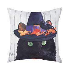 Black Cat Indoor Outdoor Pillow