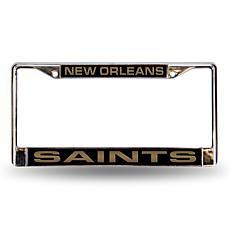 Black Chrome License Plate Frame - New Orleans Saints
