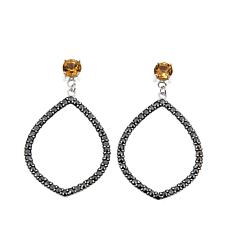 Black Marcasite and Citrine Marquise-Shaped Drop Earrings