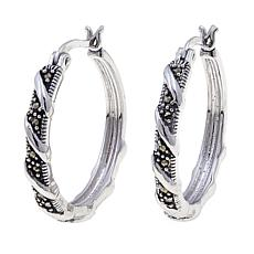 Black Marcasite Spiral-Design Sterling Silver Hoops
