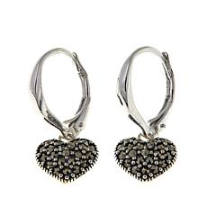 Black Marcasite Sterling Silver Heart-Drop Earrings